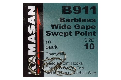 Kamasan B911 Barbless Spade End Hook Size 12 14 16 18 Pack of 10 Fishing Tackle